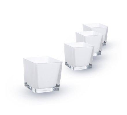 Lot de 4 Cubes (L)6x(l)6x(h)6cm Blanc