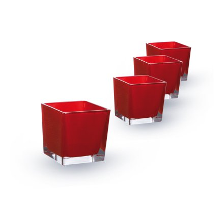 Lot de 4 Cubes (L)6x(l)6x(h)6cm Rouge