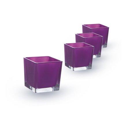 Lot de 4 Cubes (L)6x(l)6x(h)6cm Violet