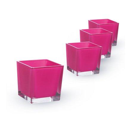 Lot de 4 Cubes (L)8x(l)8x(h)8cm Fuchsia