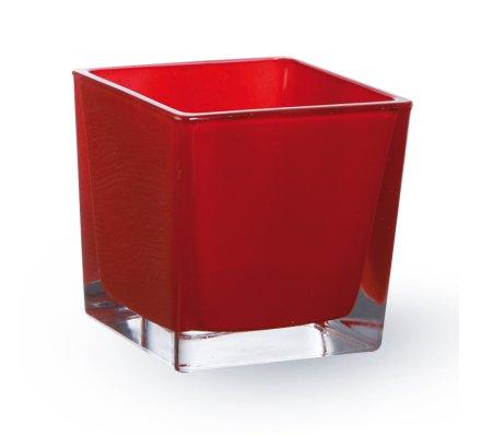 Lot de 4 Cubes (L)8x(l)8x(h)8cm Rouge