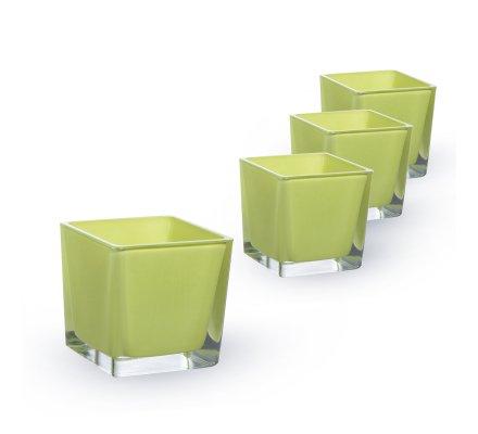 Lot de 4 Cubes (L)8x(l)8x(h)8cm Vert pomme