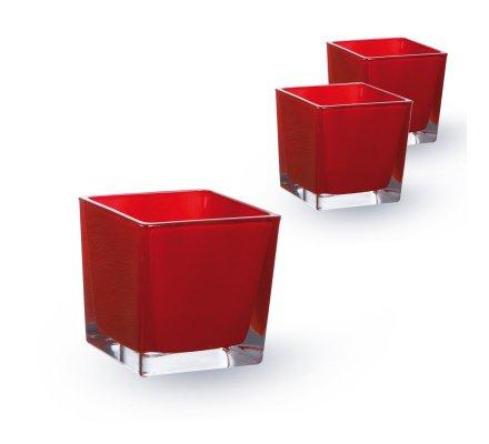 Lot de 3 Cubes 10x10x10cm Rouge