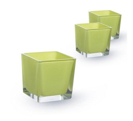 Lot de 3 Cubes 10x10x10cm Vert pomme