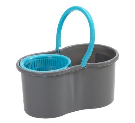 Seau essoreur 6L avec centrifugeuse balai tête rotative microfibre 360° gris et bleu