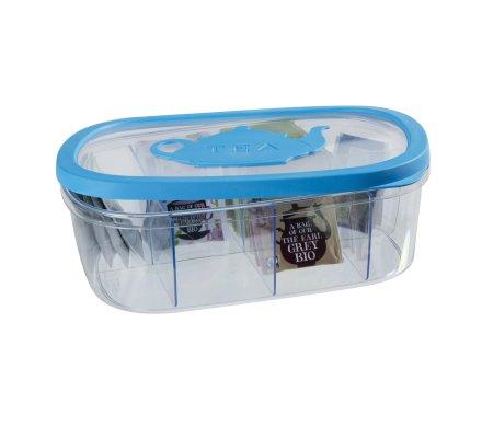 Boîte à thé en plastique bleu couvercle hermétique 8 compartiments