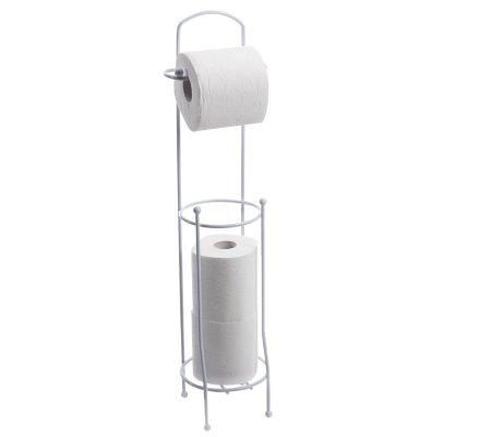 Porte papier toilette dérouleur avec réservoir en métal blanc H65cm