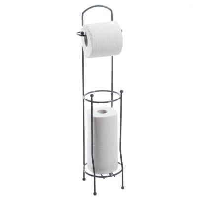 Porte papier toilette dérouleur avec réservoir en métal gris H65cm