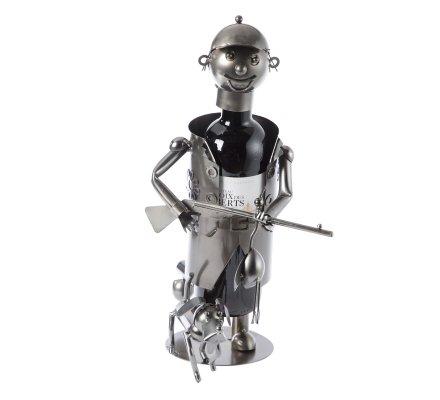 Porte bouteille, présentoir en métal chasseur avec chien H27cm