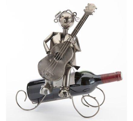 Porte bouteille, présentoir en métal musicien avec guitare H33cm