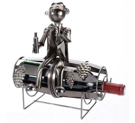 Porte-bouteille, présentoir décoration en métal H28cm