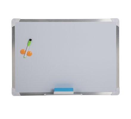 Tableau mural blanc effaçable magnétique cadre en alu avec marqueur, éponge et aimants 45x60cm