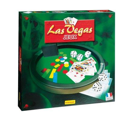 Coffret Las Vegas piste de dés feutrine rouge D31cm et accessoires de jeu