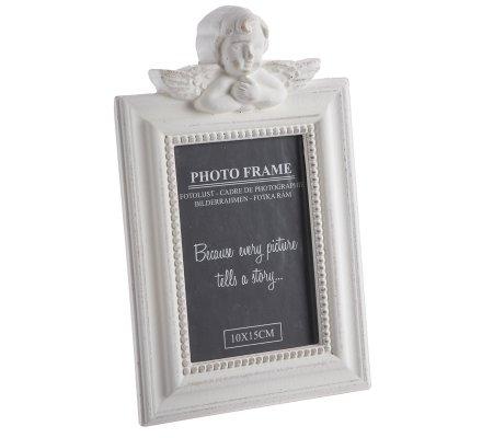 Cadre photo ange en bois blanc cérusé H27cm