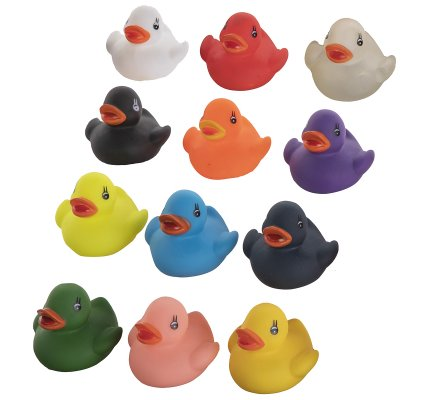 Lot de 12 canards en plastique pour le bain multicolore