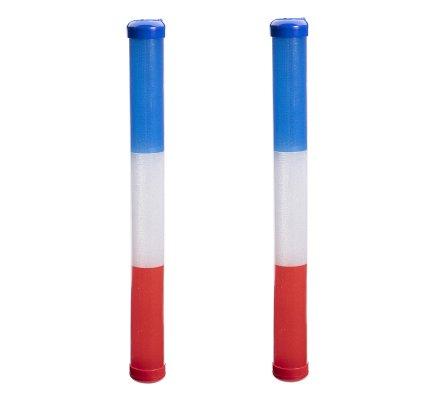 Lot de 2 bâtons de supporter bleu blanc rouge lumineux 3 fonctions