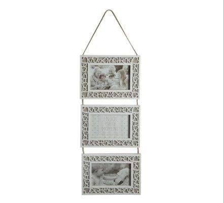 Cadre triptyque en bois blanc et marron cérusé décor contour coeur H 65cm