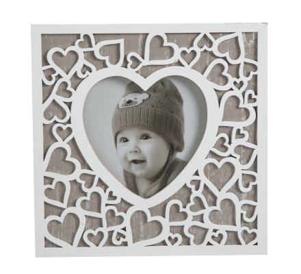 Cadre photo en bois motif coeur blanc 15x15cm