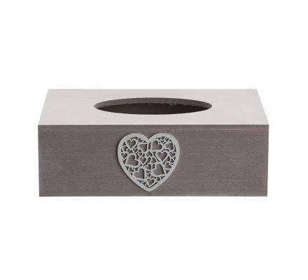 Boite à mouchoirs en bois gris cérusé motif coeur 26x15cm