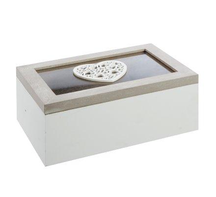 Boite de rangement à abattant en bois blanc et gris cérusé décor coeur