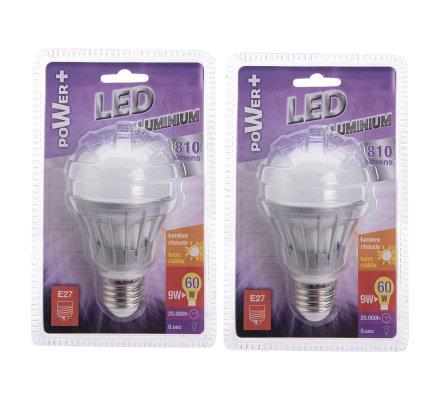 Lot de 2 ampoules LED E27 9W 810 lumens lumière chaude