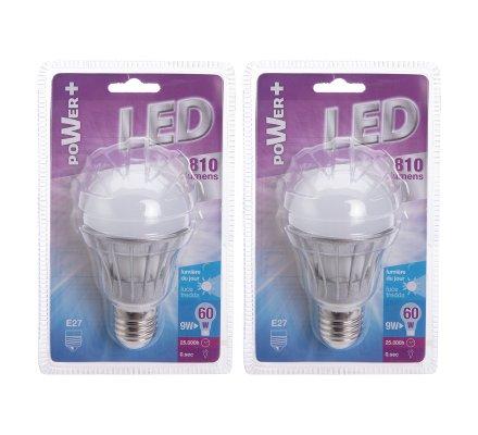 Lot de 2 ampoules LED E27 9W 810 lumens lumière froide