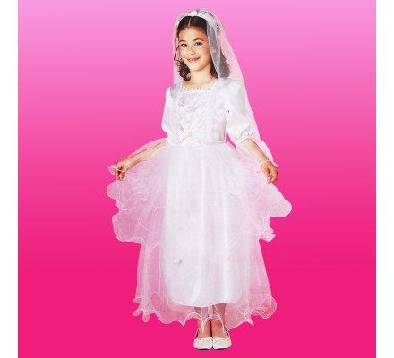 Déguisement fille robe de mariée avec voile 6-8 ans