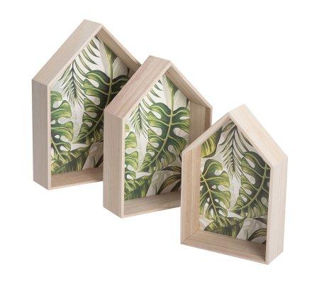 Lot de 3 étagères murales en bois fond motif tropical 3 tailles