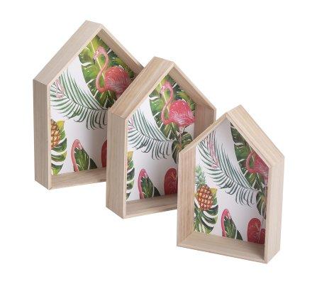 Lot de 3 étagères murales en bois fond motif flamant rose 3 tailles