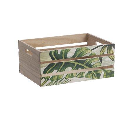 Lot de 3 caisses décoratives style cageot motif feuilles tropicales 3 tailles