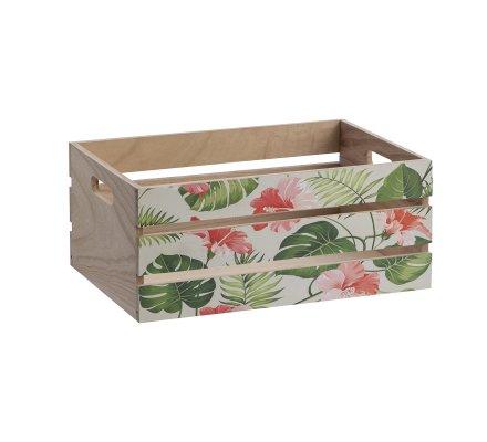 Lot de 3 caisses décoratives style cageot motif tropical 3 tailles