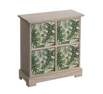 Mini armoire, vide poche en bois 4 tiroirs avec motif feuille tropicale 27x24cm