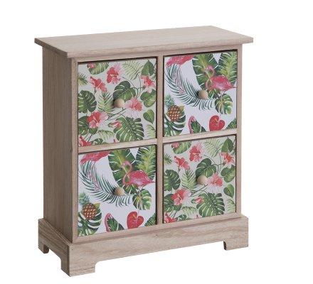 Mini armoire, vide poche en bois 4 tiroirs avec motif tropical 27x24cm