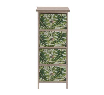Meuble commode en bois 4 tiroirs avec motifs imprimés feuilles tropicales 75x30x27cm