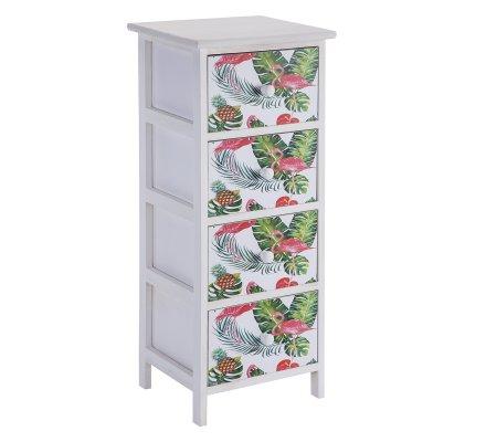 Meuble commode en bois 4 tiroirs avec motifs imprimés style tropical 75x30x27cm