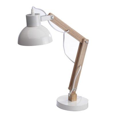 Lampe de bureau articulée en bois et métal blanc H55cm