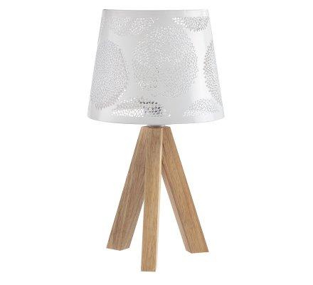 Lampe trépied bois avec abat-jour en métal ajouré blanc H35cm