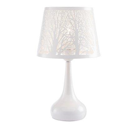 Lampe en métal blanc et abat-jour design en métal ajouré H35cm