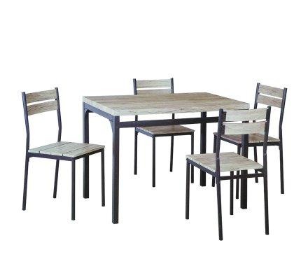 Ensemble table avec 4 chaises en bois clair et métal noir 110x70x76cm