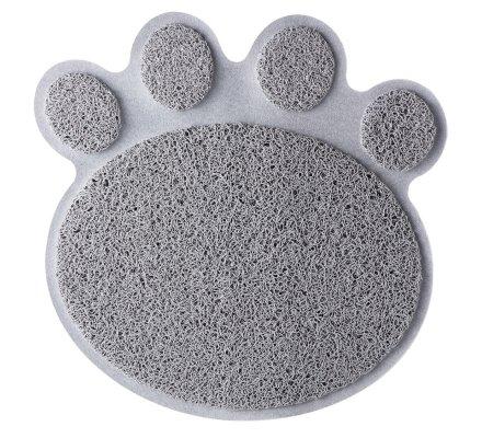 Tapis de litière anti traces forme patte de chat antidérapant gris
