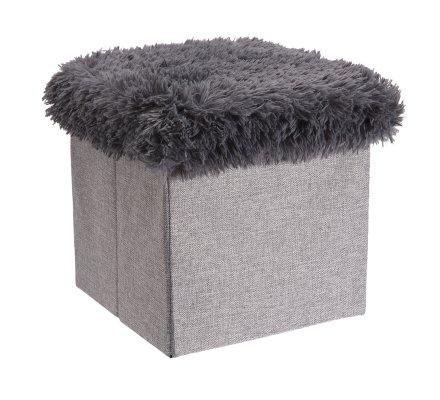 Pouf pliant, coffre de rangement avec couvercle à poils gris 30x30x30cm
