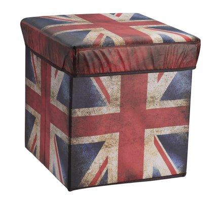 Pouf pliant, coffre de rangement intissé motif drapeau Anglais 30x30x30cm