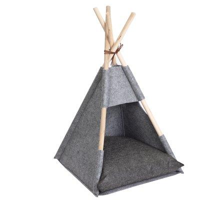 Niche pour chat en forme de tipi gris structure en bois