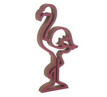 Objet décoratif en bois flamant rose H30cm