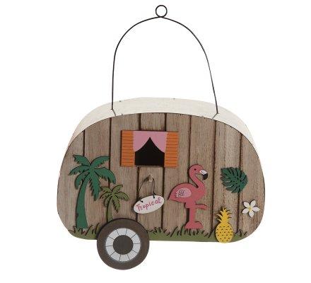 Objet décoratif caravane en bois et galva style tropical 22,5cm