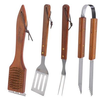 Coffret 4 accessoires pour barbecue en bois et inox pince, brosse, spatule et fourchette