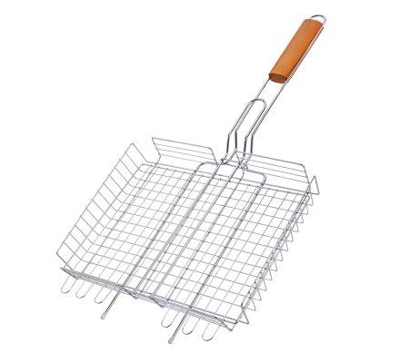 Grille panier cuisson pour barbecue avec manche en bois