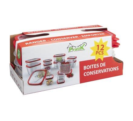 Lot de 12 boîtes de conservation avec système d'aération 6 tailles