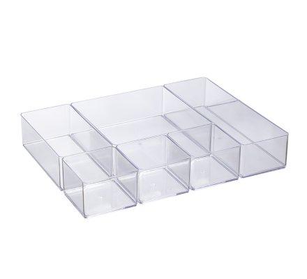 Organisateur de tiroir, rangement 6 compartiments modulables en pvc 30x22,5x5cm