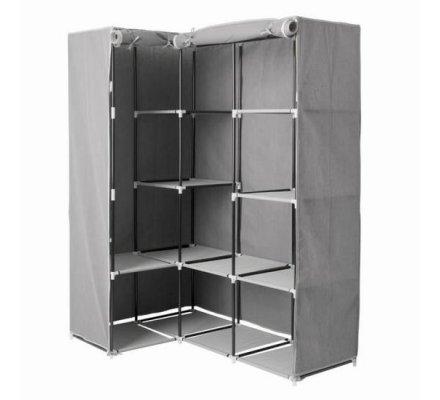 Penderie d'angle, dressing modulable en acier et intissé gris 169x130x88cm